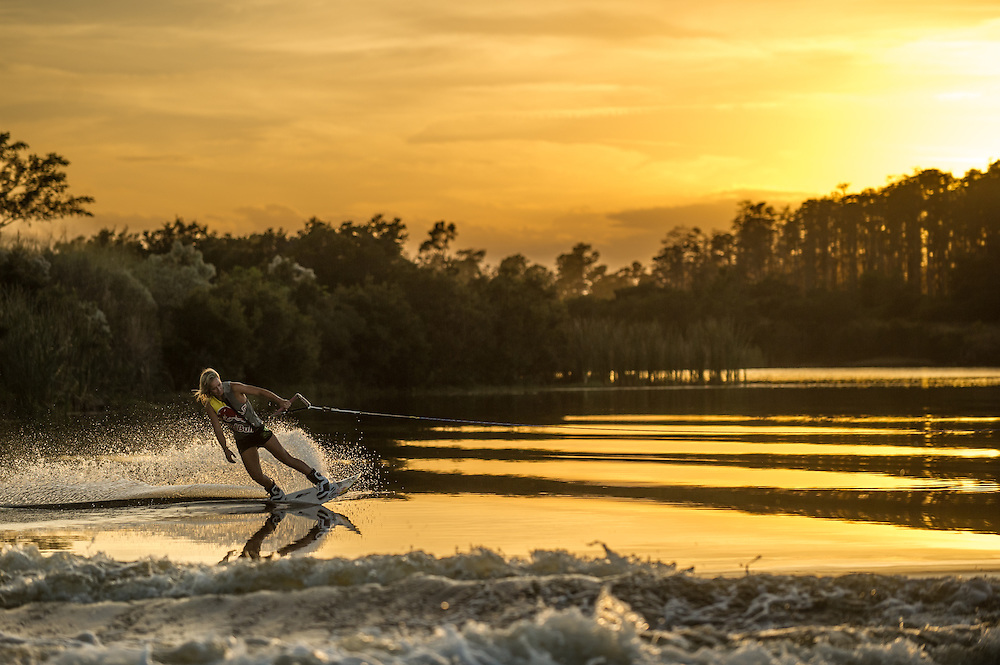 Dallas Friday shot for Ronix Wakeboards on Lake Ronix in Orlando, Florida.