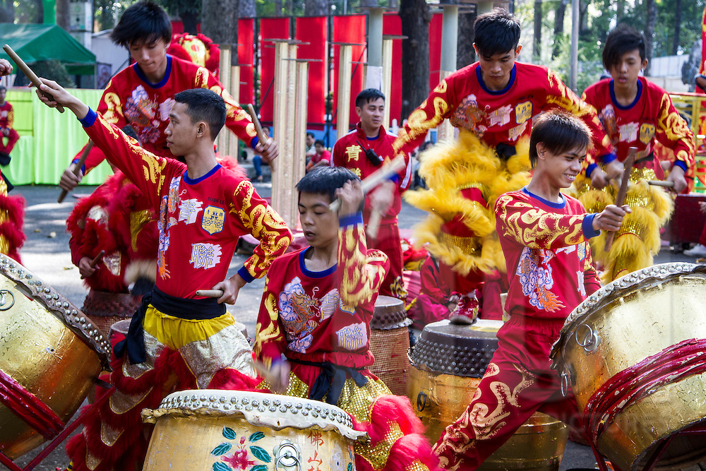 A group of young Vietnamese performers dance a Dragon Dance in Ho Chi Minh City, Vietnam, Southeast Asia