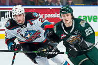 KELOWNA, BC - FEBRUARY 28: Matthew Wedman #20 of the Kelowna Rockets checks Wyatte Wylie #29 of the Everett Silvertips during third period at Prospera Place on February 28, 2020 in Kelowna, Canada. Wedman was selected in the 2019 NHL entry draft by the Florida Panthers while Wylie was selected in the 2018 NHL entry draft by the Philladelphia Flyers. (Photo by Marissa Baecker/Shoot the Breeze)