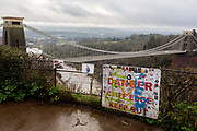 The view of the Clifton Suspension Bridge and river Severn gorge, historically a commmon location for suicides and where the mental health charity Samaritans raise awareness for vulernable people over the Christmas and New year holiday, on 26th December 2019, in Bristol, England. The bridge opened 1864 is built to a design by William Henry Barlow and John Hawkshaw, based on an earlier design by Isambard Kingdom Brunel. Approximately four suicides per year are reported after new barriers were added in 1998.