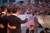 Actor Johnny Depp, actress Dakota Johnson, director Scott Cooper and Joel Edgerton face fans for a photograph at the gala screening for the film Black Mass at the 72nd Venice Film Festival, Friday September 4th 2015, Venice Lido, Italy.