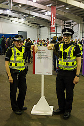 Pictured: Imspector Emma Croft and PC Matt Meldum keep the peace during the cont<br /> <br /> <br /> The count has started for the Edinburgh Count as part of the Scottish Election 2016. A long night is anticipated with results predicted to start being announced around 7 AM<br /> <br /> <br /> <br /> Ger Harley | EEm 5 May 2016