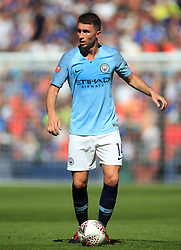 """Manchester City's Aymeric Laporte during the Community Shield match at Wembley Stadium, London. PRESS ASSOCIATION Photo. Picture date: Sunday August 5, 2018. See PA story SOCCER Community Shield. Photo credit should read: Adam Davy/PA Wire. RESTRICTIONS: EDITORIAL USE ONLY No use with unauthorised audio, video, data, fixture lists, club/league logos or """"live"""" services. Online in-match use limited to 75 images, no video emulation. No use in betting, games or single club/league/player publications."""