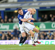 Everton's Ross Barkley tussles with Swansea's Jonjo Shelvey<br /> <br /> Barclays Premier League- Everton vs Swansea City - Goodison Park - England - 1st November 2014 - Picture David Klein/Sportimage