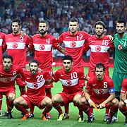 Turkey's players (Left to Right) (Front Row) Selcuk INAN, Sabri SARIOGLU, Mehmet EKICI, Emre BELOZOGLU, Arda TURAN; (Back Row) (Left to Right) Colin Kazim RICHARDS, Hakan BALTA, Serdar KESIMAL, Burak YILMAZ; Egemen KORKMAZ, Goalkeeper Volkan DEMIREL during their UEFA EURO 2012 Qualifying round Group A soccer match Turkey betwen Kazakhstan at TT Arena Istanbul September 02, 2011. Photo by TURKPIX