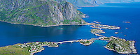 Sakrisoy and Hamnoy viewed from Reinebringen peak, Lofoten islands, Norway