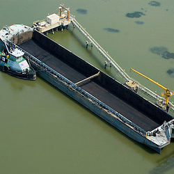 Aerial view of empty barge