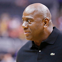 03 August 2014: Los Angeles Sparks owner Magic Johnson is seen during the Los Angeles Sparks 70-69 victory over the Connecticut Sun, at the Staples Center, Los Angeles, California, USA.