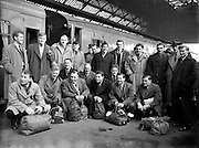 Irish Rugby Football Union, Ireland v Wales, Five Nations, Welsh Team arrives at Dublin Airport, Dublin, Ireland, Thursday 8th March, 1956,.8.3.1956, 3.8.1956, ..Welsh Team, ..G Owen, Wearing number 1 Welsh jersey, Full Back, Newport Rugby Football Club, Newport, Wales, and, Carnegie College Rugby Football Club, Leeds, England, ..C L Davies, Wearing number 5 Welsh jersey, Left Wing, Cardiff Rugby Football Club, Cardiff, Wales,..M C Thomas, Wearing number 4 Welsh jersey, Left Centre, Newport Rugby Football Club, Newport, Wales, ..H P Morgan, Wearing number 3 Welsh jersey, Right Centre, Newport Rugby Football Club, Newport, Wales,..K J Jones, Wearing number 2 Welsh jersey, Right Wing, Newport Rugby Football Club, Newport, Wales,..C I Morgan, Wearing number 6 Welsh jersey, Outside Half, Cardiff Rugby Football Club, Cardiff, Wales,..D O Brace, Wearing number 7 Welsh jersey, Forward, Newport Rugby Football Club, Newport, Wales, and, Oxford University Rugby Football Club, Oxford, England, ..C Meredith, Wearing number 8 Welsh jersey, Forward, Neath Rugby Football Club, Neath, Wales,..B Meredith, Wearing number 9 Welsh jersey, Forward, Newport Rugby Football Club, Newport, Wales,..W O Williams, Wearing number 10 Welsh jersey, Forward, Swansea Rugby Football Club, Swansea, Wales, ..R H Williams, Wearing number 11 Welsh jersey, Forward, Llanelly Rugby Football Club, Llanelly, Wales, ..J R G Stephens, Wearing number 12 Welsh jersey, Forward, Neath Rugby Football Club, Neath, Wales,..B Sparks, Wearing number 13 Welsh jersey, Forward, Neath Rugby Football Club, Neath, Wales, and, St Luke's College, Exeter, England,..L H Jenkins, Wearing number 14 Welsh jersey, Forward, Newport Rugby Football Club, Newport, Wales,..R C C Thomas, Wearing number 15 Welsh jersey, Forward, Swansea Rugby Football Club, Swansea, Wales, .... .