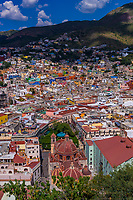 Overview of the Templo de San Diego (San Diego Church) and Union Garden seen from the Pipila Monument, Guanajuato, Mexico
