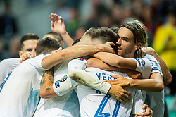 Players of Slovenia celebrate after scoring first goal during the 2020 UEFA European Championships group G qualifying match between Slovenia and Israel at SRC Stozice on September 9, 2019 in Ljubljana, Slovenia. Photo by Ziga Zupan / Sportida