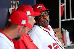 October 7, 2017 - Washington, DC, USA - Washington Nationals manager Dusty Baker (12) in the dugout before Game 2 of the National League Division Series against the Chicago Cubs at Nationals Park in Washington, D.C., on Saturday, Oct. 7, 2017. (Credit Image: © Brian Cassella/TNS via ZUMA Wire)