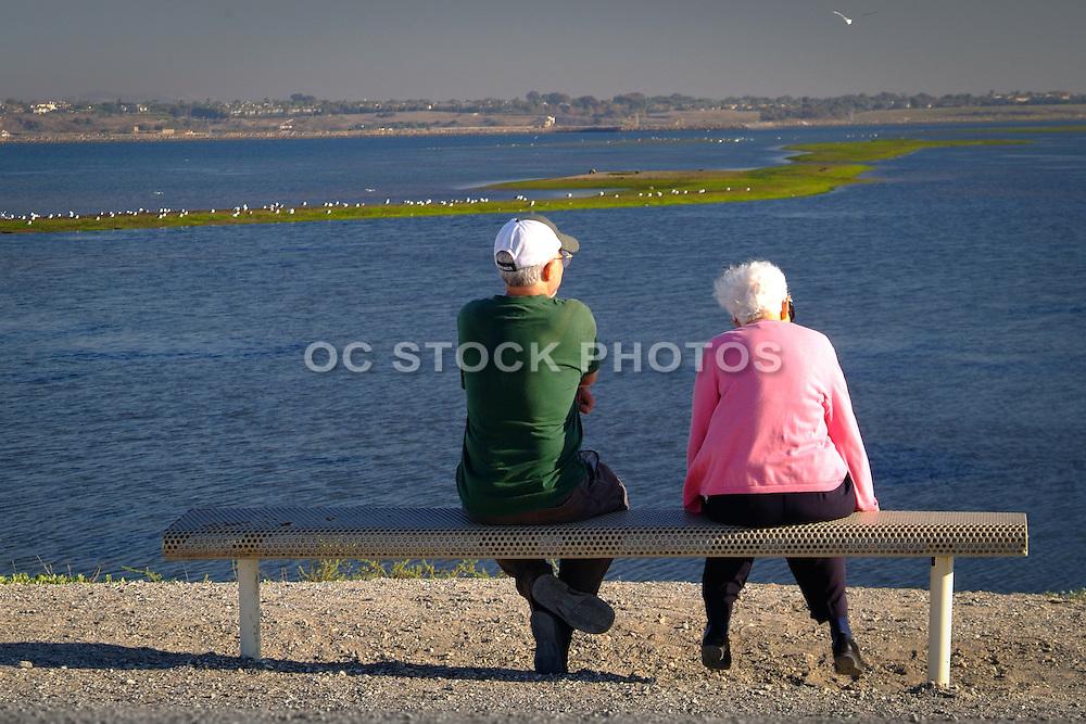 Elderly Friends Sitting On A Bench At Bolsa Chica Park