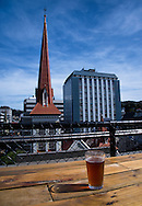A local craft beer and the view from a rooftop bar in downtown Wellington, New Zealand