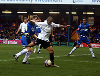 Photo: Mark Stephenson/Sportsbeat Images.<br /> Stockport County v Hereford United. Coca Cola League 2. 17/11/2007.Lionel Ainsworth trys a shot on goal