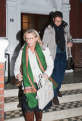 © Licensed to London News Pictures. 09/02/2012. London, UK. FABIO CAPELLO, former manager of the England national football team, leaving his home in West London with his wife LAURA CAPELLO  on February 9th, 2012. Capello yesterday (08/02/2012) resigned from his position as England manager after a dispute with The Football Association. Photo credit : Ben Cawthra/LNP