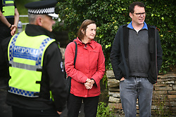 © Licensed to London News Pictures. 08/08/2020. City, UK. Nia Griffith MP for Llanelli (centre), at the scene of the freight train accident in Llangennech, near Llanelli in Wales. The train was carrying a vast amount of diesel fuel which caused a huge fire and spilled into nearby waterways. The fire is still ablaze and the fire service continue to contain it into the evening. Photo credit: Robert Melen/LNP