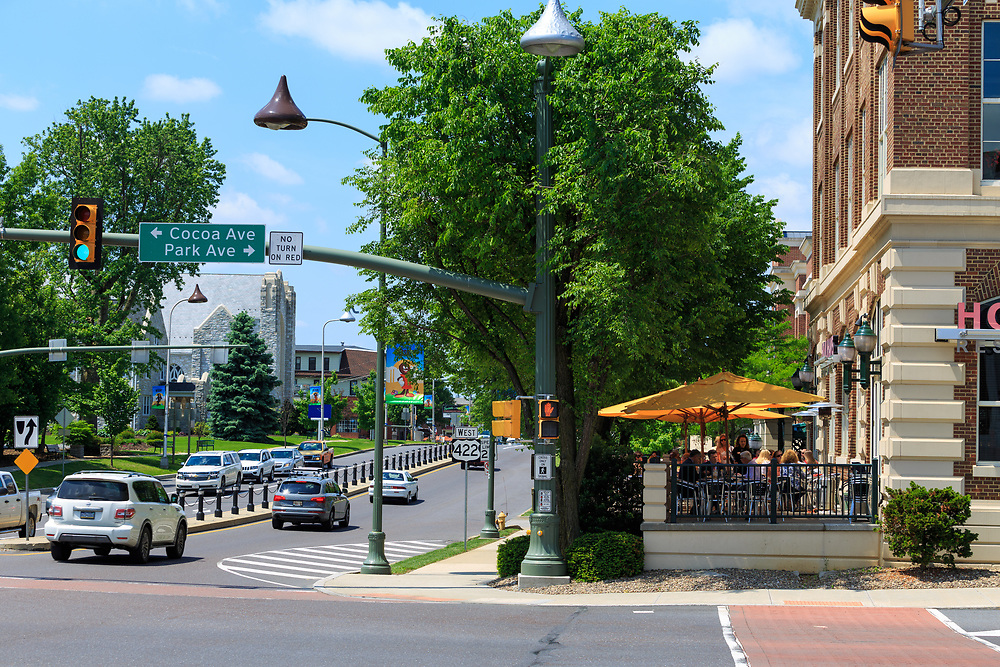 Hershey, PA, USA - May 21, 2018: Looking west on Chocolate Avenue in the downtown of Hershey.