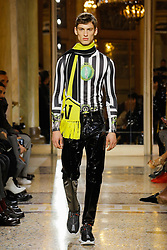 MILAN-Fall 2018 Menswear Model, walks the runway at the VERSACE show during Milan Men's Fashion Week Fall/Winter 2018/19. 13 Jan 2018 Pictured: VERSACE Fashion Show. Photo credit: Newspictures/ MEGA TheMegaAgency.com +1 888 505 6342
