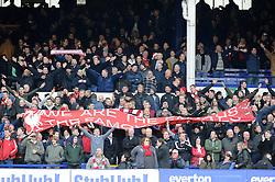 Liverpool fans at Goodison Park - Photo mandatory by-line: Dougie Allward/JMP - Tel: Mobile: 07966 386802 23/11/2013 - SPORT - Football - Liverpool - Merseyside derby - Goodison Park - Everton v Liverpool - Barclays Premier League