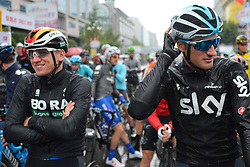 October 21, 2018 - Guilin, China - (Left - Right) Pascal Ackermann of Germany and Bora - Hansgrohe Team and Gianni Moscon of Italy and Team SKY arrives at the start line ahead of the six and final stage, 169km Guilin Stage, of the 2nd Cycling Tour de Guangxi 2018. .On Sunday, October 21, 2018, in, Guilin, China. (Credit Image: © Artur Widak/NurPhoto via ZUMA Press)