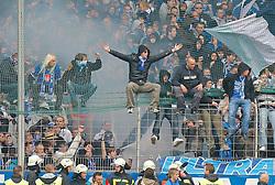 08.05.2010, Rewirpower Stadion, Bochum, GER, 1.FBL, VfL Bochum vs Hannover 96, im Bild: Frust und Feuerwerk bei den Bochum Fans zum Ende des Spiels, EXPA Pictures © 2010, PhotoCredit: EXPA/ nph/  Scholz *** Local Caption *** / SPORTIDA PHOTO AGENCY