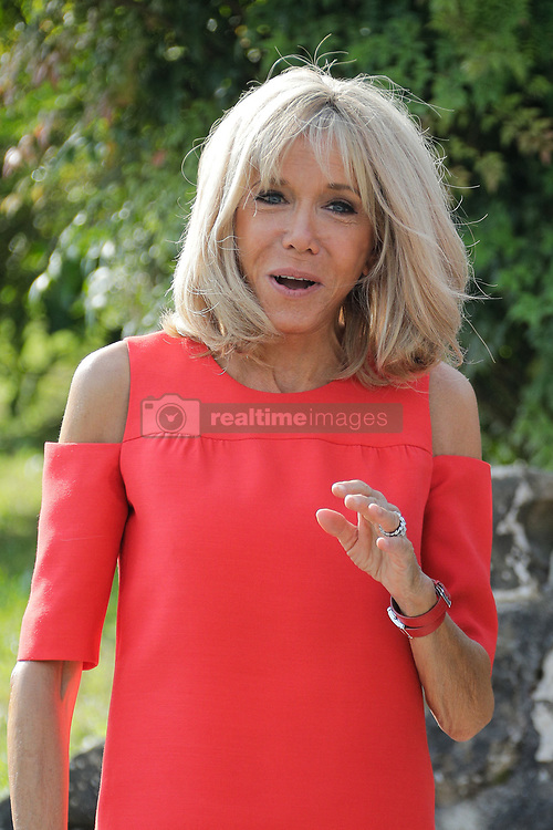 Brigitte Macron, wife of French President Emmanuel Macron wait for the arrival of the spouses of G7 World leaders for a visit on traditional Basque culture in Espelette, near Biarritz as part of the G7 summit.August 25, 2019. Photo by Thibaud Moritz/ABACAPRESS.COM