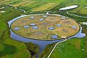 Nederland, Drenthe, Gemeente Borger-Odoorn, 30-06-2011; LOFAR (Low Frequency Array - lage frequentie telescoop), ten noorden van Exloo. Close-up centrale gedeelte van de radiotelescoop. De gehele radiotelescoop bestaande uit vele duizenden aan elkaar gekoppelde antennes welke staan op de grijze tegels. Deze antennes bevinden zich op andere locaties, het geheel wordt beheerd door ASTRON. .LOFAR (Low Frequency Array - Low Frequency telescope), north of Exloo. Central portion of the radio telescope..The entire radio telescope consists of thousands of interconnected antennas, the antennas are located on different sites, all operated by ASTRON..luchtfoto (toeslag), aerial photo (additional fee required).copyright foto/photo Siebe Swart