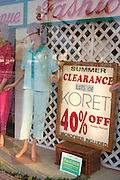 Mannequin in shop window showing fashions on Corey Avenue.  St. Pete Beach Tampa Bay Area Florida USA