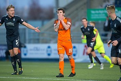 Dundee United's James Keatings after another miss. Falkirk 6 v 1 Dundee United, Scottish Championship game played 6/1/2018 played at The Falkirk Stadium.