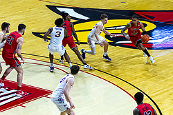 NORMAL, IL - February 27: Howard Fleming Jr cuts towards the lane defended by Bowen Born during a college basketball game between the ISU Redbirds and the Northern Iowa Panthers on February 27 2021 at Redbird Arena in Normal, IL. (Photo by Alan Look)