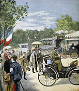 Automobile reliability race between Paris and Rouen, sponsored by 'Le Petit Journal'. First prizes awarded to Panhard & Levassor and to the Peugeot brothers. From 'Le Petit Journal' Paris 6 August, 1894