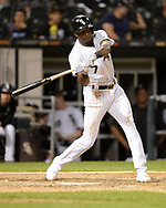 CHICAGO - SEPTEMBER 25:  Tim Anderson #7 of the Chicago White Sox bats against the Cleveland Indians on September 25, 2019 at Guaranteed Rate Field in Chicago, Illinois.  (Photo by Ron Vesely)  Subject:   Tim Anderson