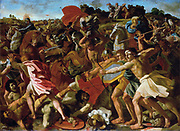 The Victory of Joshua Over the Amalekites', 1624-1625. Oil on canvas. Nicolas Poussin (1594–1665) French classical painter.  Battle Cavalry Archer Bow Arrow Spear Melee Confusion Religion Judeo-Christian Jewish