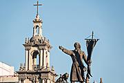 The Iglesia Sagrado Corazon de Jesus or Sacred Heart of Jesus Church with Miguel Hidalgo statue in the Barrio Antiguo neighborhood of Monterrey, Nuevo Leon, Mexico. The church was built between between 1873 and 1904.
