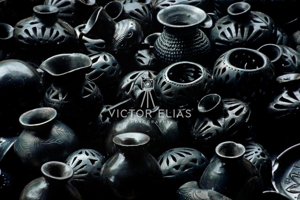 Close up of black clay ceramics. Oaxaca, Mexico.