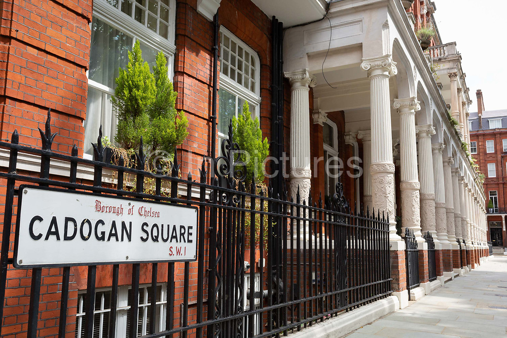 Terraced period properties on the northern side of Cadogan Square, SW!, on 24th July 2020, in London, England. Cadogan Square 1888 sometimes referred to as Cadogan Gardens is in Knightsbridge, west London and named after Earl Cadogan. Whilst it is mainly a residential area, some of the properties are used for diplomatic and educational purposes.