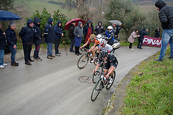 Elisa Longo Borghini exits the final white road sector on the front at Strade Bianche - Elite Women. A 127 km road race on March 4th 2017, starting and finishing in Siena, Italy. (Photo by Sean Robinson/Velofocus)