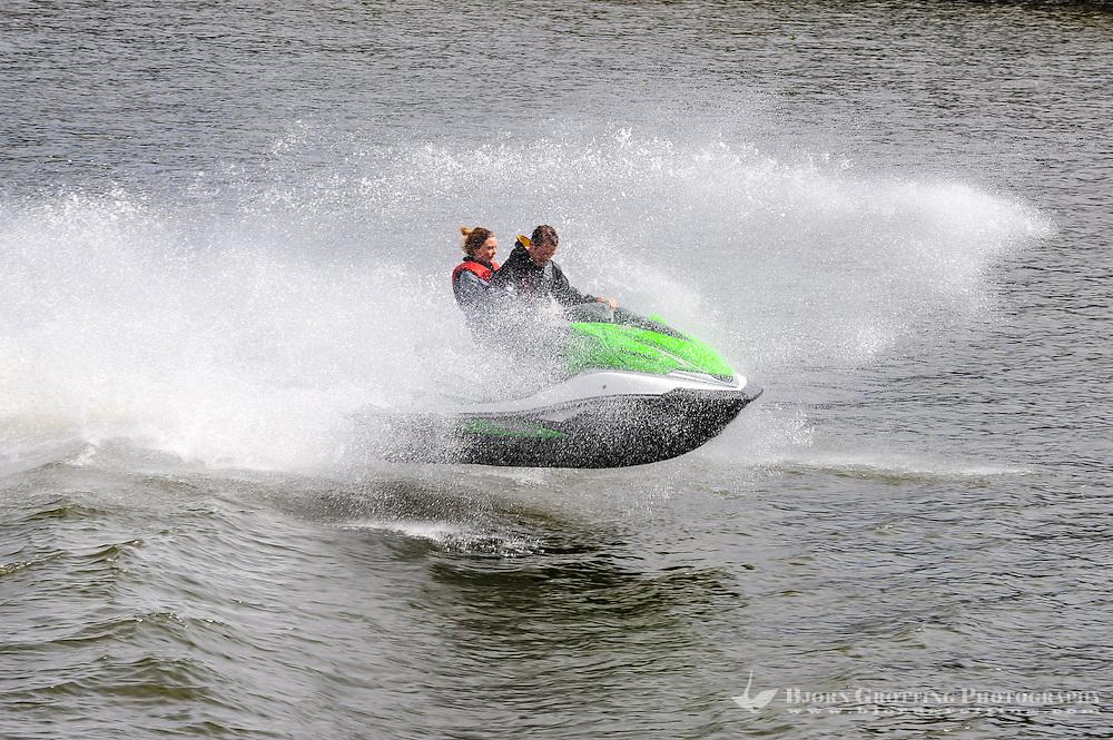 Sweden, Stockholm. jet ski racing on lake Mälaren.