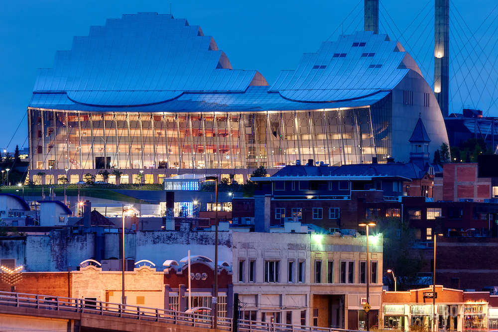 Kansas City's Kauffman Center for the Performing Arts, view with telephoto lens from Washington Square Park at dusk.