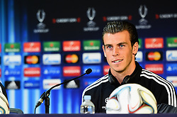 CARDIFF, WALES - Tuesday, August 12, 2014: Real Madrid's Gareth Bale during a press conference ahead of the UEFA Super Cup at Cardiff City Stadium.  (Pic by Pool/Getty Images/Propaganda)