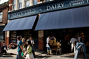 Neal's Yard Dairy cheese shop. Borough Market is a thriving Farmers market near London Bridge. Saturday is the busiest day.