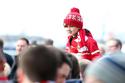 February 17, 2019 - Doncaster, United Kingdom - A young Doncaster Rover is held high above the fans outside the stadium before the Emirates FA Cup Fifth Round match at the Keepmoat Stadium, Doncaster. Picture date: 17th February 2019. Picture credit should read: James Wilson/Sportimage(Credit Image: © James Wilson/CSM via ZUMA Wire)