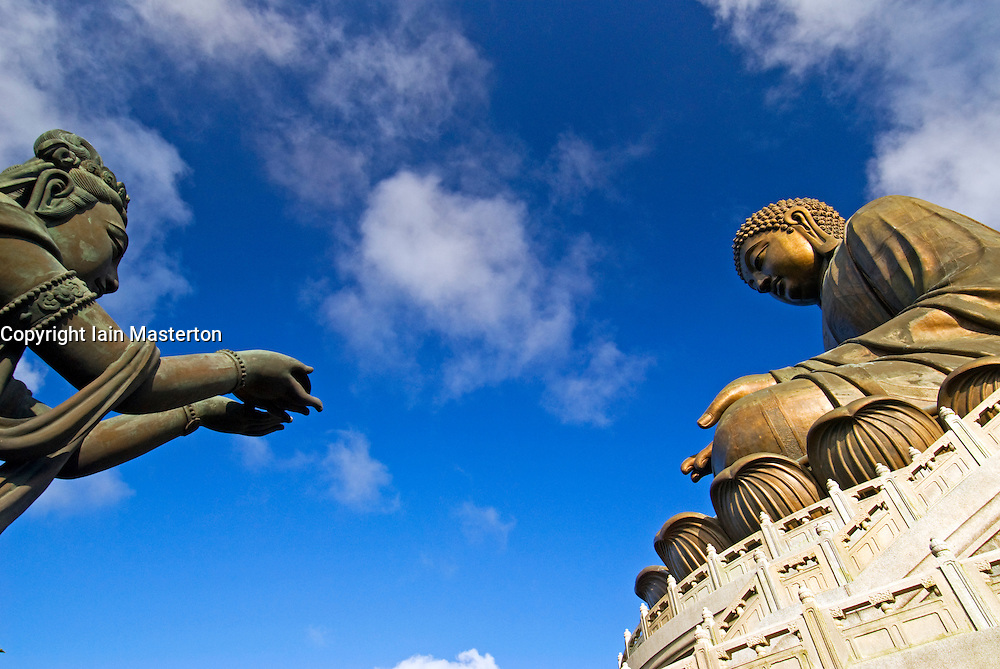 Big Buddha statue and ornate bronze sculpture at Po Lin Monastery in Hong Kong China