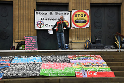 Vince Law, poet & artist, speaking at DPAC, Disabled People Against Cuts, rally & demo against Universal Credit, Norwich 27 October 2018 UK. He created the work of art in front of the stage