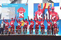Team KATUSHA (RUS)/ Joaquim RODRIGUEZ OLIVER (ESP)/ Alexander KRISTOFF (NOR)/ Alberto LOSADA ALGUACIL (ESP)/ Angel VICIOSO ARCOS (ESP)/ Marco HALLER (AUT)/ Michael MORKOV (DEN)/ Jurgen VAN DEN BROECK (BEL)/ Ilnur ZAKARIN (RUS)/ Jacopo GUARNIERI (ITA) during the 103rd Tour de France 2016, Team Presentation, at Sainte-Mère-l'Eglise in France, on June 30, 2016 - Photo Tim de Waele / DPPI