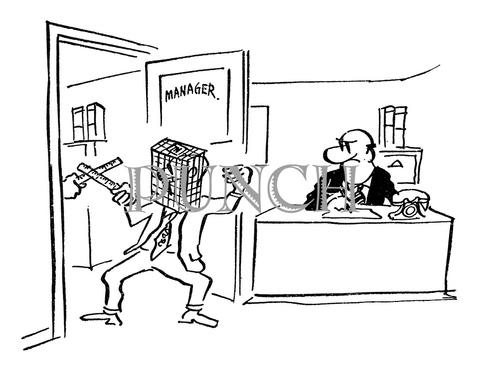 (A manager glowers at two office workers fencing with rulers and in-trays as masks)