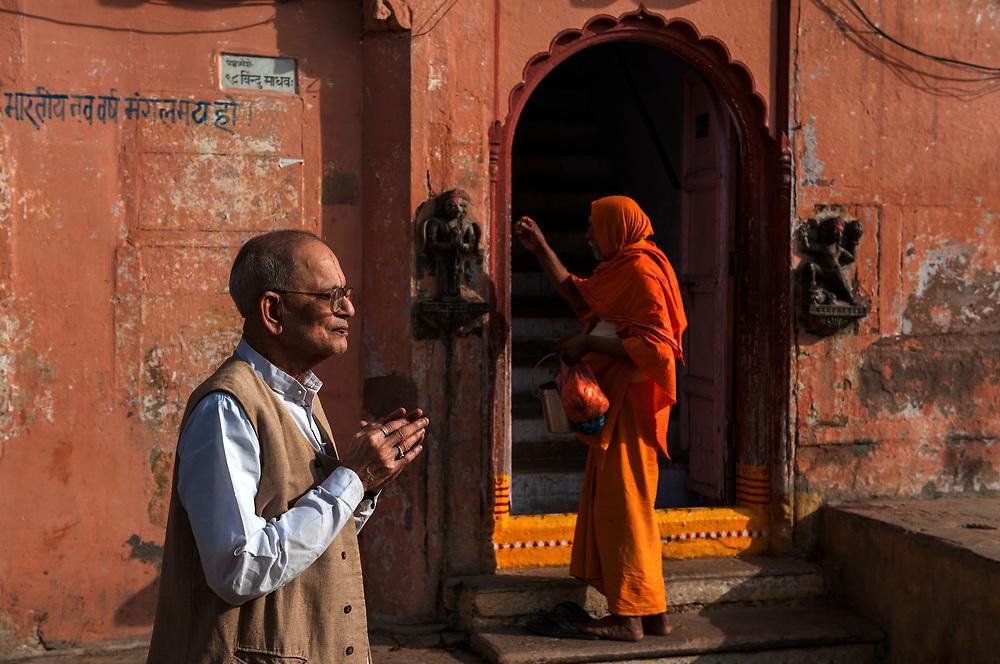 Dawn prayers, Varanasi, Uttar Pradesh, India