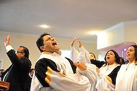 The award-winning gospel choir at Apostolic Life Community Church in east Salinas helps draw in an enthusiastic congregation.