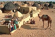 INDIA, RAJASTHAN Desert village near Jaisalmer